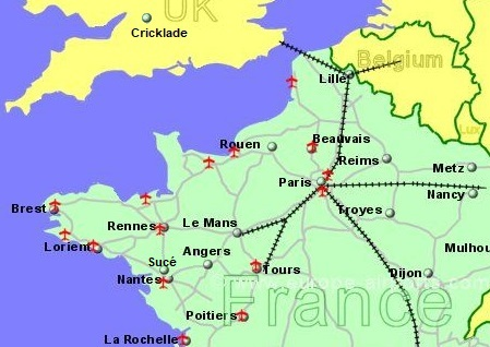 Map showing Cricklade and Nantes which is 5 miles from Sucé